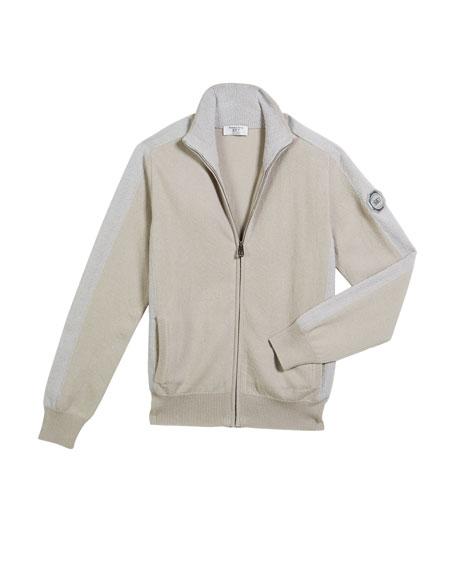 Stefano Ricci Boys' Contrast-Trim Zip-Up Blouson Sweater, Size 10-14