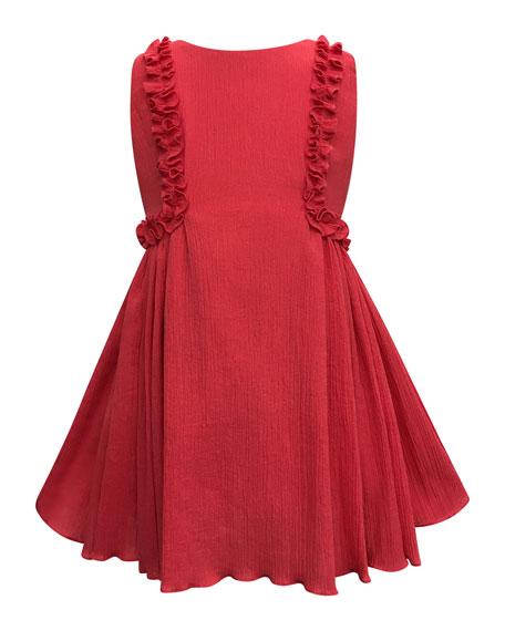 Helena Crinkled Ruffle-Trim Dress, Size 4-6