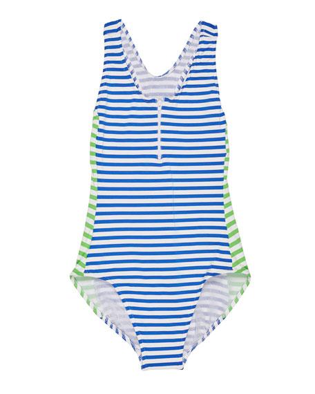 Florence Eiseman Stripe Y-Back One-Piece Swimsuit, Size 7-14