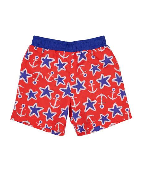 Florence Eiseman Anchor Star-Print Swim Trunks, Size 2-4T