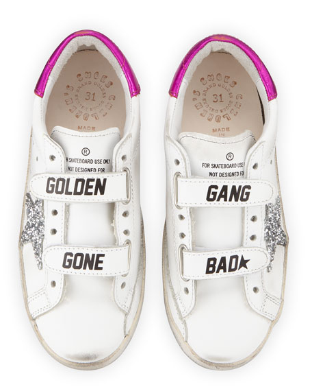 Golden Goose Old School Leather Grip-Strap Sneakers, Baby/Toddler