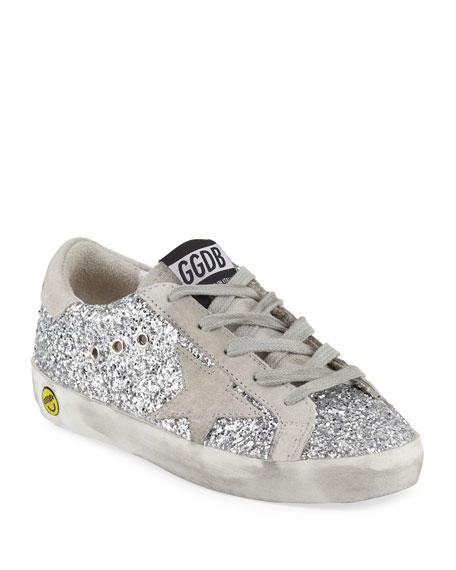 Golden Goose Superstar Glittered Low-Top Sneakers, Baby/Toddler