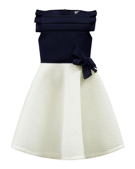 David Charles Two-Tone Mesh Scuba Dress, Size 4-8