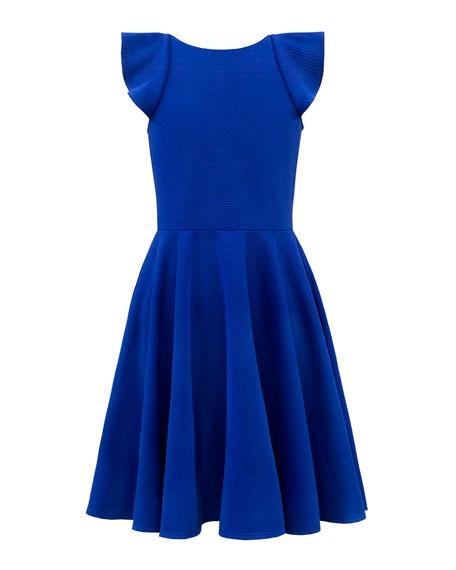 David Charles Rib Knit Dress w/ Waterfall Ruffle Back, Size 8-16