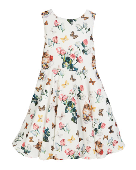 Charabia Mixed Floral Print Sleeveless Dress, Size 2-4