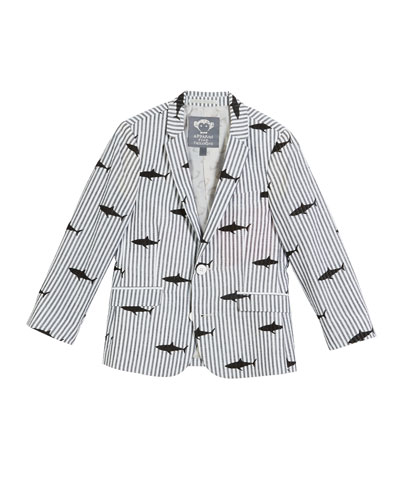 Striped Shark-Print Blazer  Size 2-14