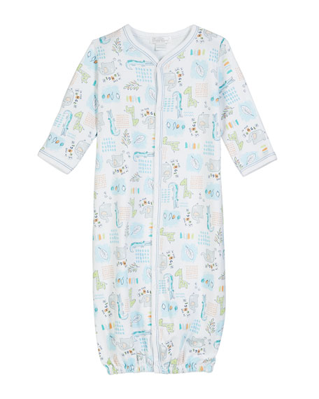 Kissy Kissy In The Jungle Printed Pima Convertible Gown, Size Newborn-S