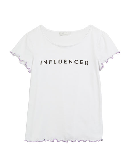 Milly Minis Influencer Graphic Lettuce-Edge Tee, Size 4-6