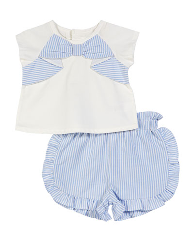 Short-Sleeve Bow Top w/ Striped Ruffle Shorts  Size 3-24 Months