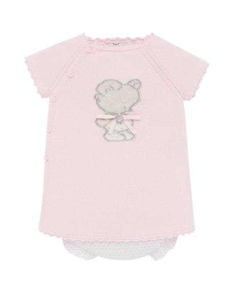 Pili Carrera Knit Bear Intarsia Dress w/ Polka-Dot Bloomers, Size 3M-2