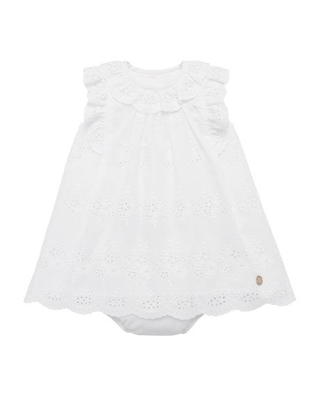 Pili Carrera Ruffle-Trim Eyelet Dress w/ Bloomers, Size 12M-3