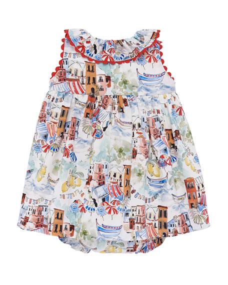 Pili Carrera Beach Town Print Sleeveless Dress w/ Bloomers, Size 12M-3