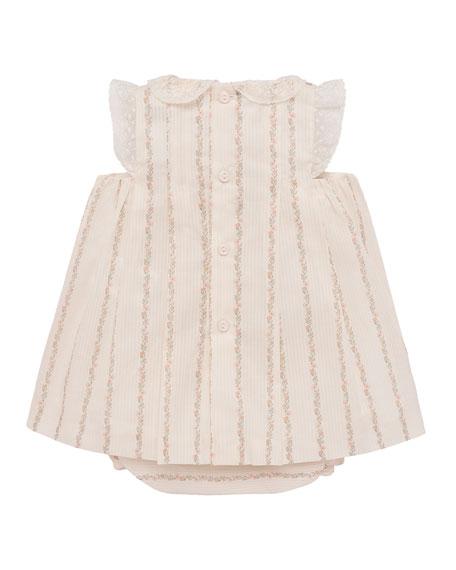 Pili Carrera Lace-Trim Floral Striped Dress w/ Bloomers, Size 3-18 Months