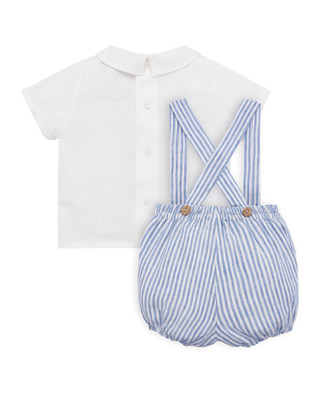 Pili Carrera Ticking Striped Suspender Trousers w/ Blouse, Size 3M-2