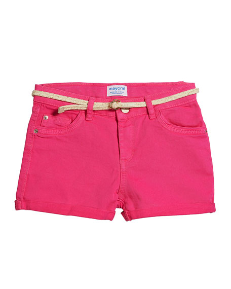 Mayoral Basic Twill Shorts w/ Metallic Belt, Size 8-16