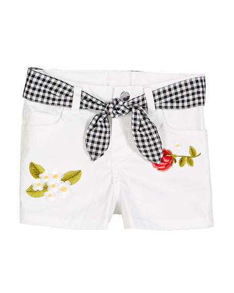 Mayoral Twill Flower Embroidered Shorts w/ Gingham Sash, Size 12-36 Months