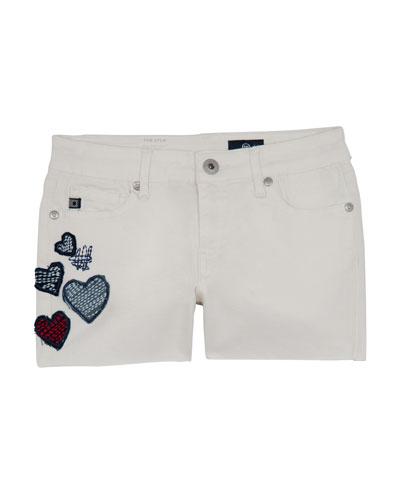 Girls' Lyla Shorts w/ Heart Patches  Size 4-6X