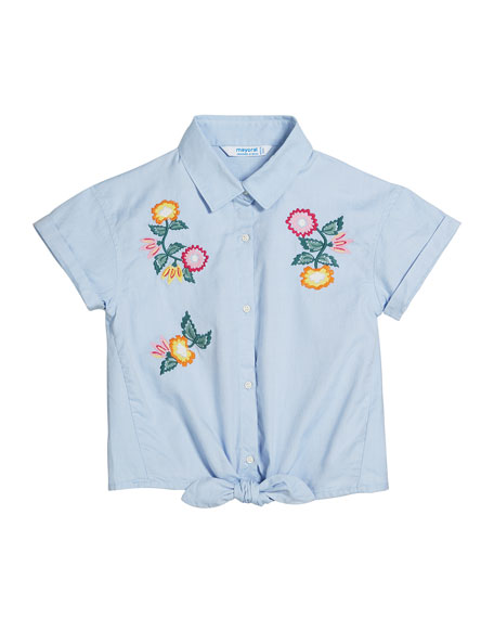Mayoral Oxford Embroidered Flower Shirt, Size 8-16