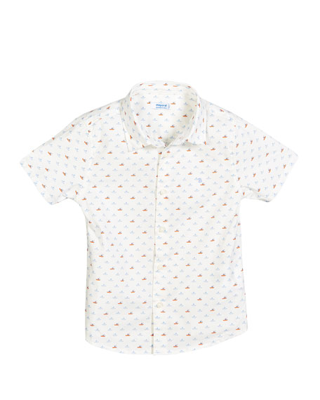 Mayoral Boat Print Collared Shirt, Size 12-36 Months