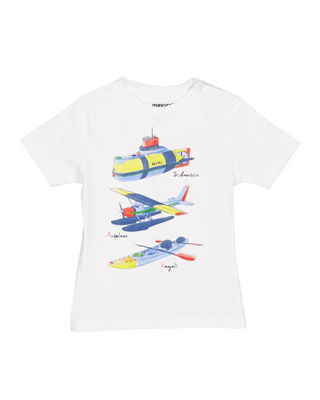 Mayoral Submarine Plane & Kayak Graphic Tee, Size 12-36 Months