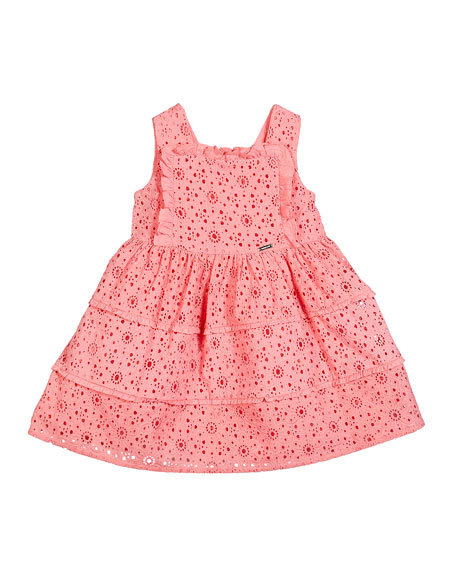 Mayoral Ruffle-Trim Lace Dress, Size 12-36 Months