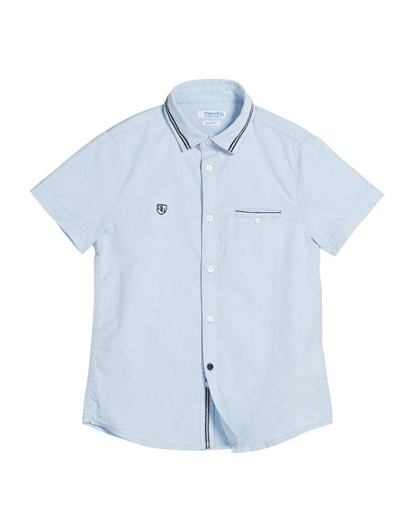 Mayoral Detailed Short-Sleeve Collared Shirt, Size 4-7