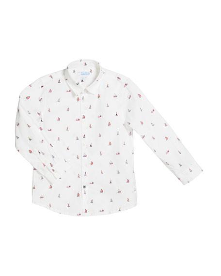 Mayoral Tiny Boat Print Long-Sleeve Collared Shirt, Size 4-7