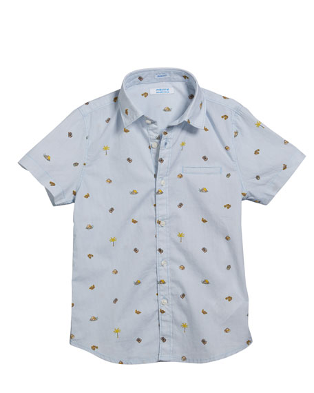 Mayoral Camping Icons Collared Short-Sleeve Shirt, Size 4-7