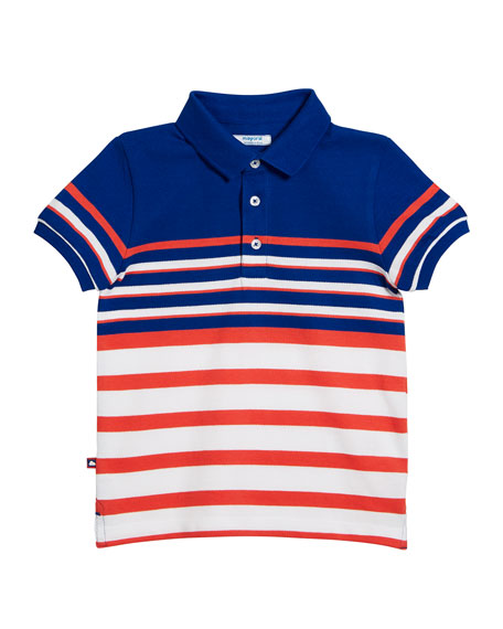 Mayoral Multi-Stripe Short-Sleeve Polo Shirt, Size 4-7