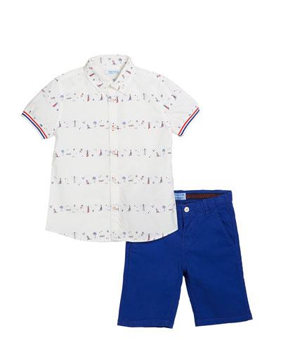 Lighthouse & Boat Print Collared Shirt w/ Bermuda Shorts  Size 4-7