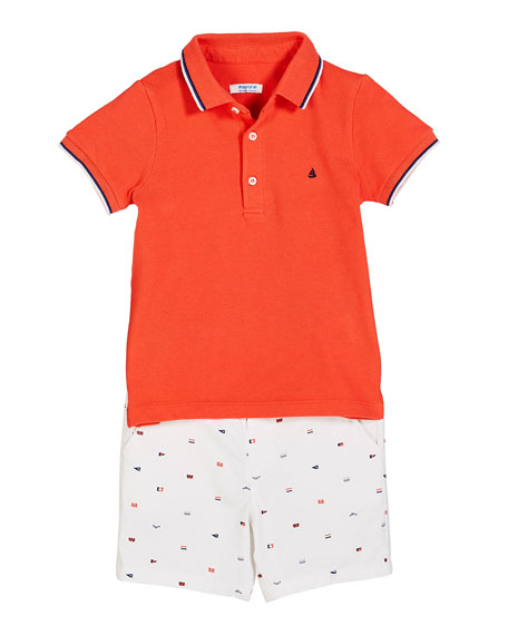 Mayoral Knit Pique Polo Shirt w/ Flag Print Shorts, Size 12-36 Months