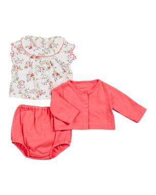 4fa3e16a1 Petit Bateau Ruffle Collar Floral Top w/ Solid Cardigan & Bloomers, Size 3-