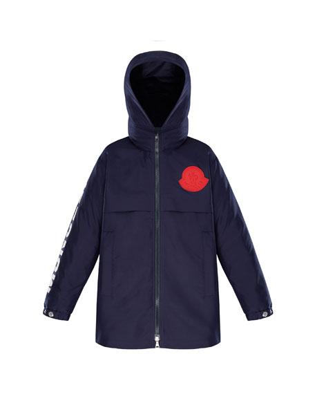 Moncler Hooded Logo Coat, Size 8-14
