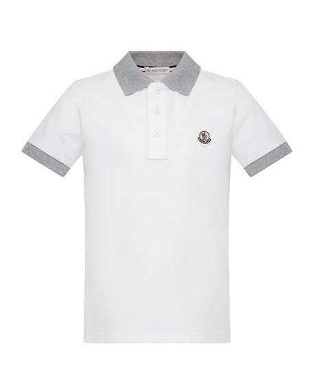 Moncler Contrast Trim Short-Sleeve Polo Shirt, Size 8-14