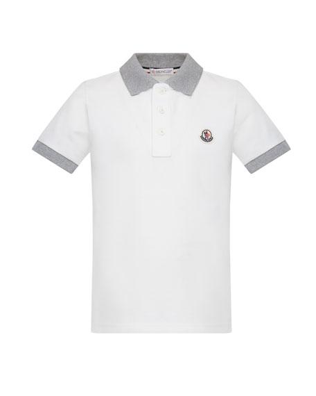 Moncler Contrast Trim Short-Sleeve Polo Shirt, Size 4-6