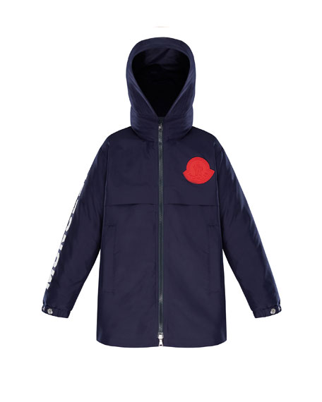 Moncler Hooded Logo Coat, Size 4-6
