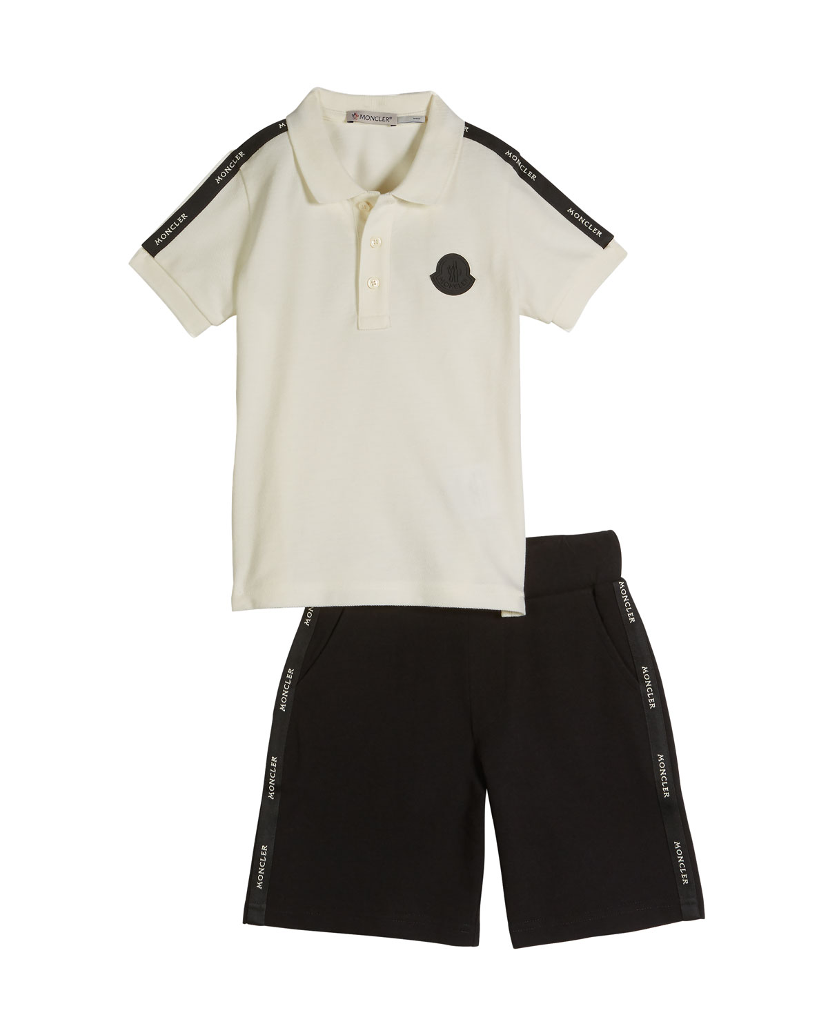 Moncler Logo Taping Polo Shirt W Matching Shorts Size 8 14
