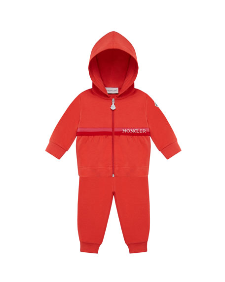 Moncler Shirred Zip-Up Hoodie w/ Matching Sweatpants, Size 12M-3