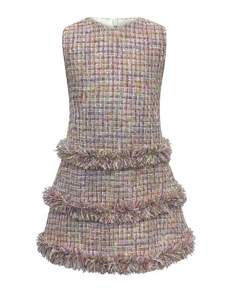 Helena Sleeveless Fringe Tweed Dress, Size 2-6