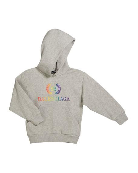 Balenciaga Rainbow Logo Crest Hoodie, Size 2-10