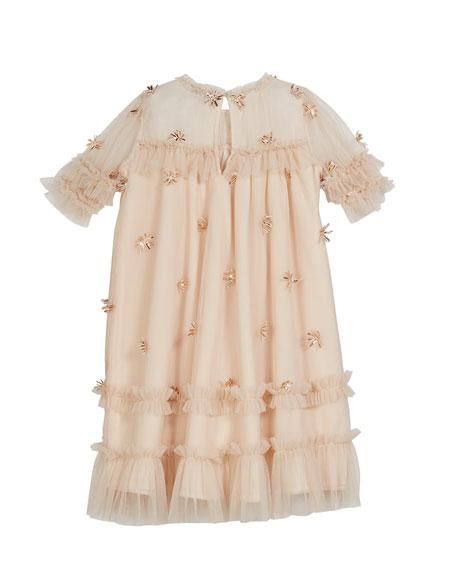 Velveteen Laylani Smocked Ruffle Party Dress, Size 3-6