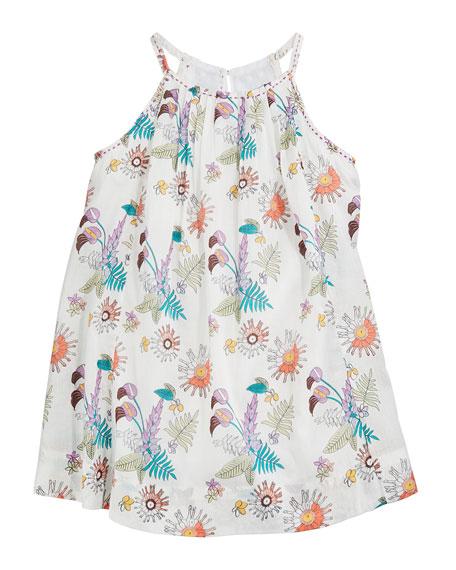 Velveteen Gaia Floral Pleated Halter Dress, Size 3-24 Months
