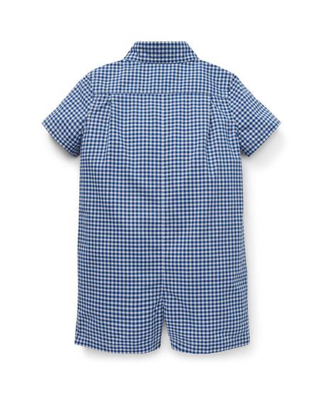 Ralph Lauren Childrenswear Gingham Bear Embroidered Shortall, Size 3-12 Months
