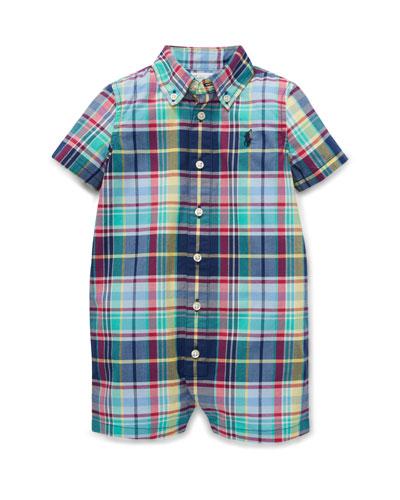 Button-Down Collar Plaid Shortall  Size 3-12 Months