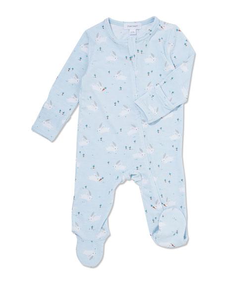 Angel Dear Bunnies Printed Zip-Front Footie Pajamas, Size 0-9 Months
