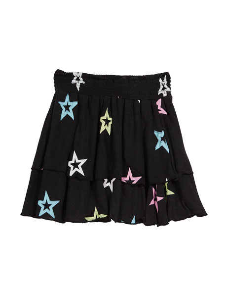 Flowers By Zoe Pastel Star-Print Tiered Skirt, Size S-XL