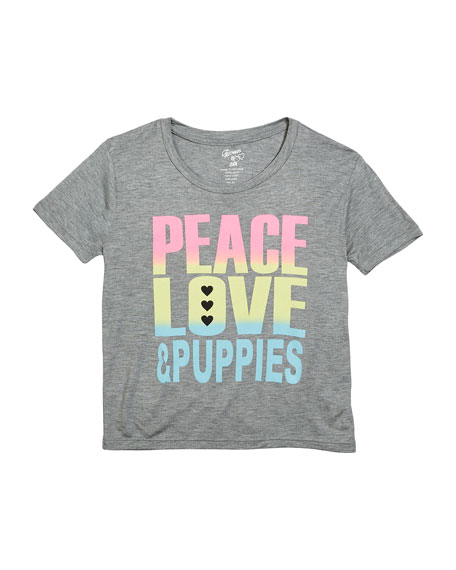 Flowers By Zoe Peace Love & Puppies Tee, Size S-XL