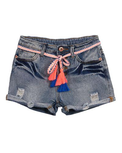 Distressed Denim Shorts w/ Tassel Belts  Size 7-14