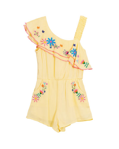Floral Embroidered Woven One-Shoulder Romper  Size 4-6