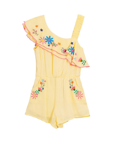 Floral Embroidered Woven One-Shoulder Romper  Size 7-14